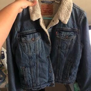 Jean jacket w/ fur on inside